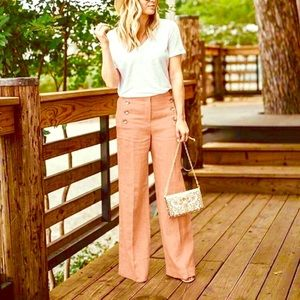 Pants - High Waisted Zip Up Button Accents Wide Leg Lounge